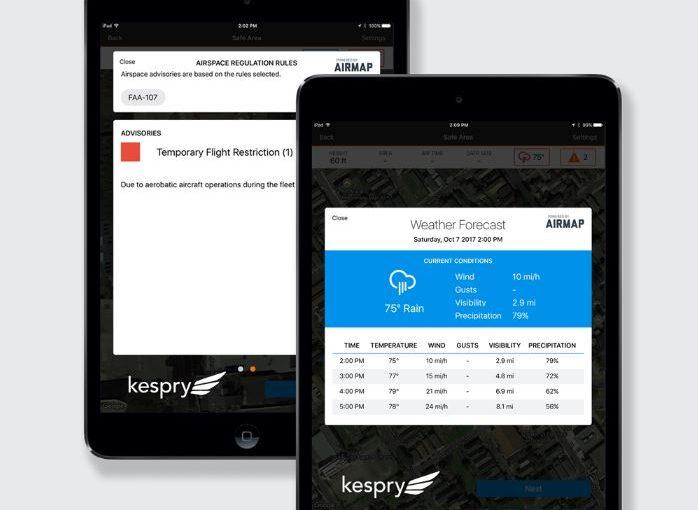 AirMap Flight Data Integrated In Autonomous Kesprey Drone Operations - Airmap app
